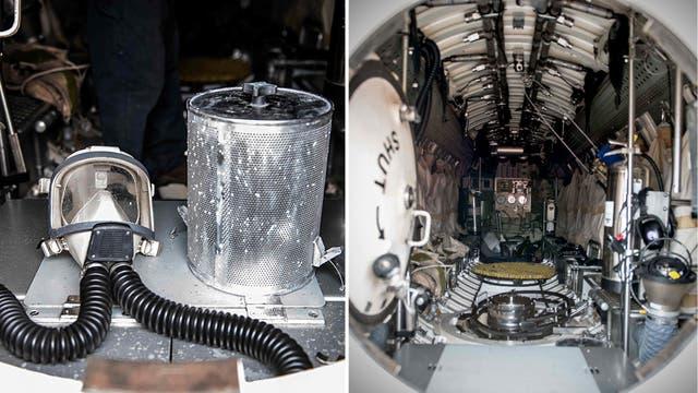 Detalles del interior del vehículo de rescate PRM que será trasladado por el buque Sophie Siem. Foto: AFP / Pablo Villagra