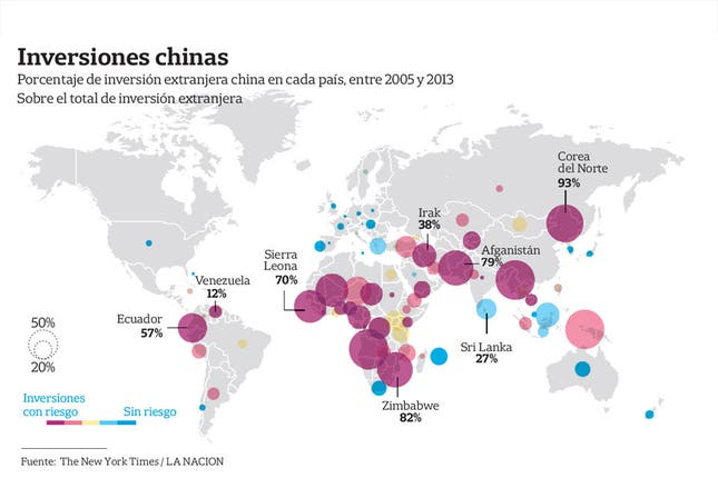 D�nde est�n las principales inversiones chinas en el mundo