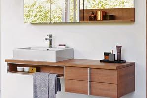 Un baño decorado con sencillez geométrica