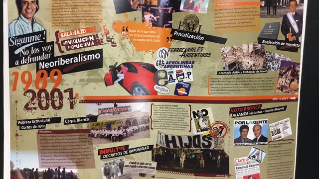 El neoliberalismo menemista, con la Ferrari del ex presidente Carlos Menem entre los íconos destacados
