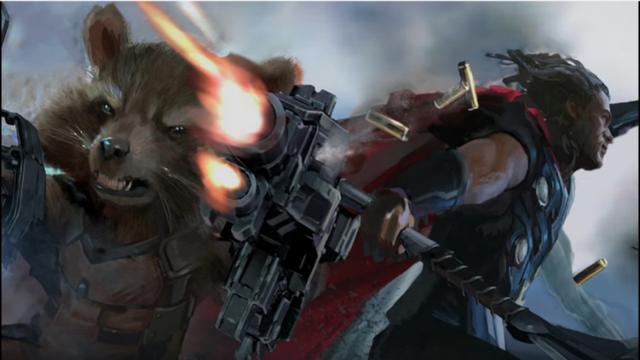Diseño para Infinity War en el que Rocket pelea codo a codo con Thor.