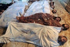Largas filas de cadáveres se ven por todos lados, la mayoría son niños