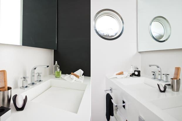 Bajo la mesada de Corian de Dupont (Metama), mueble de MDF laqueado, un diseño del estudio Vanguarda. El espejo se colocó de manera flotante y ocupa todo el ancho de ese sector..