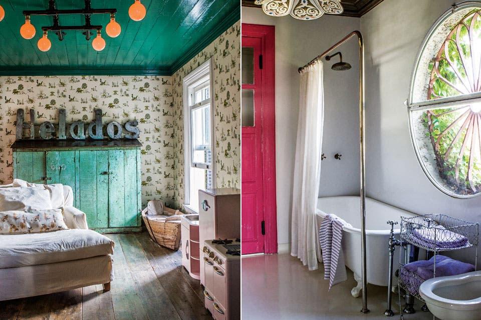El cuarto de juegos tiene el techo pintado de verde y un cartel de heladería. En el baño, la puerta es fucsia con un componente flúo para que brille más. Ventana redonda y lámpara fileteada por Luis Zorz.  Foto:Living /Santiago Ciuffo