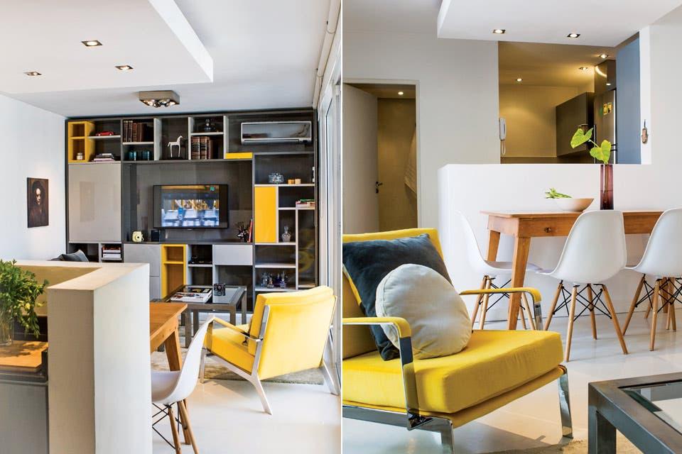 Sobre la alfombra de lana y viscosa ($6.500 el m2), sofá cama ($27.000), sillón individual en metal cromado ($13.500) tapizado en terciopelo amarillo ($980 el metro lineal) .  Foto:Living /Santiago Ciuffo