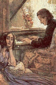Ilustración de Frédéric Chopin junto a su pareja. Foto: assuranctourix.canalblog.com