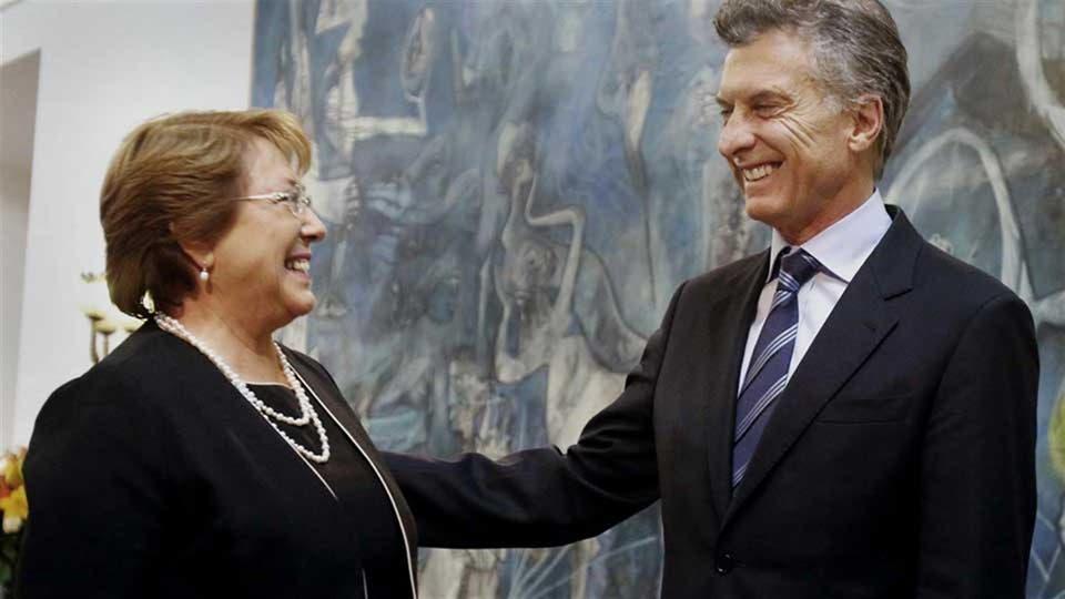 El presidente Mauricio Macri y su par chilena, Michelle Bachelet foto: Archivo