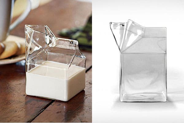 Cartón de leche pero de vidrio. ¿Lo pondrías en la mesa para el desayuno?. Foto: Blessthisstuff.com