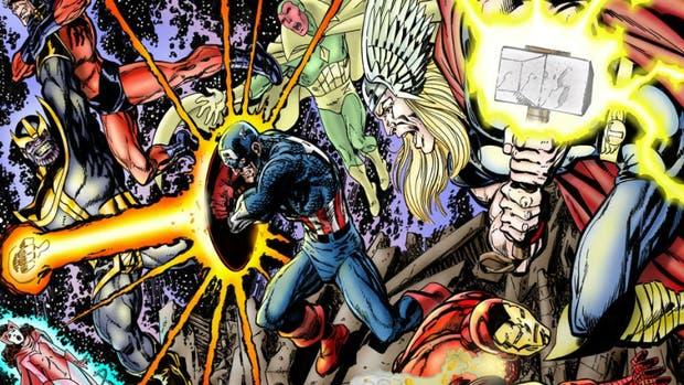 Los vengadores contra Thanos, según el dibujante John Byrne.