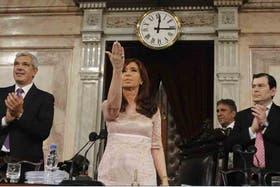 Cristina Kirchner, durante su último discurso ante la Asamblea Legislativa