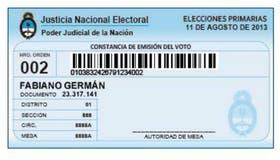 A los electores se les entregará un comprobante luego de que voten