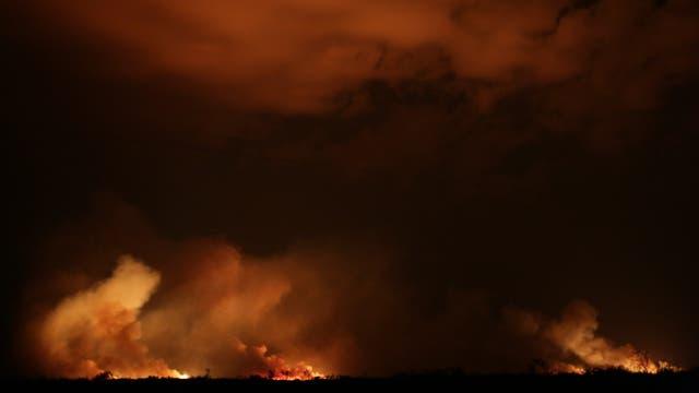 Las tareas no se detienen, por la noche los focos de incendio son más fáciles de detectar