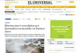 El Universal, de Venezuela, cubrió la tragedia en Buenos Aires