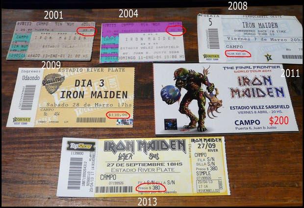 Evolución de precios para una entrada en campo para ver un recital de Iron Maiden