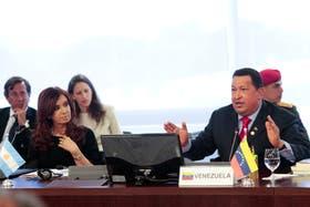 Chávez junto a la presidenta, Cristina Kirchner