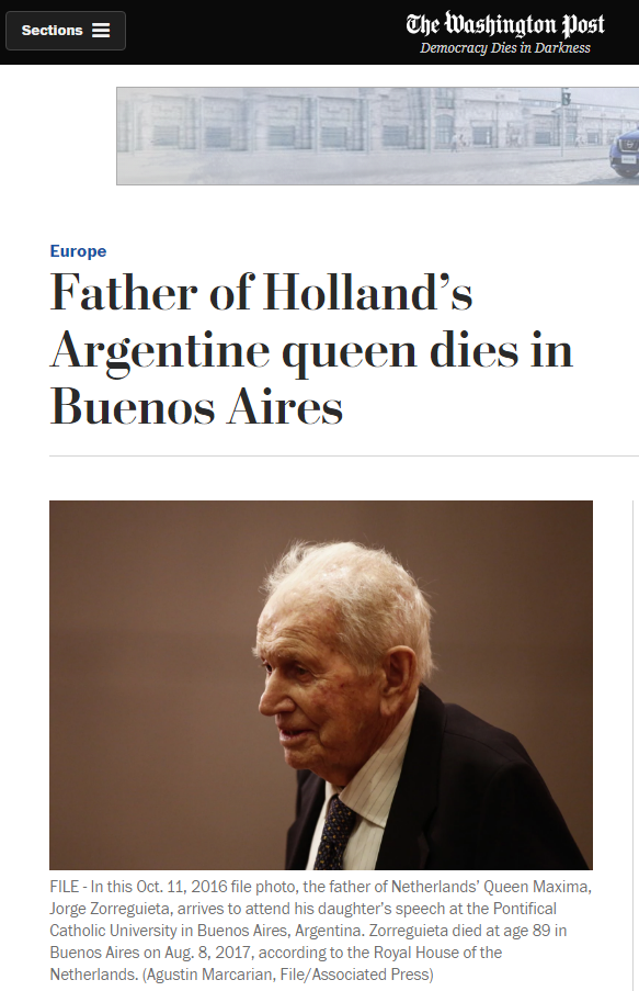 La noticia en el diario The Washington Post