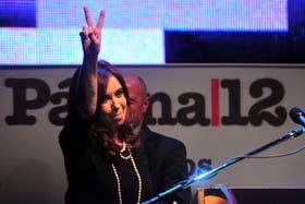La presidenta Cristina Fernández de Kirchner, el pasado miércoles, en el acto del 25º aniversario del diario Página/12, en el predio de la ex-Esma.
