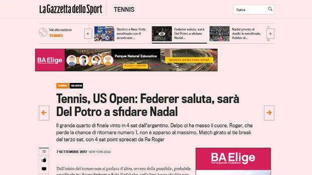 La Gazzetta dello Sport, de Italia. Foto: Captura