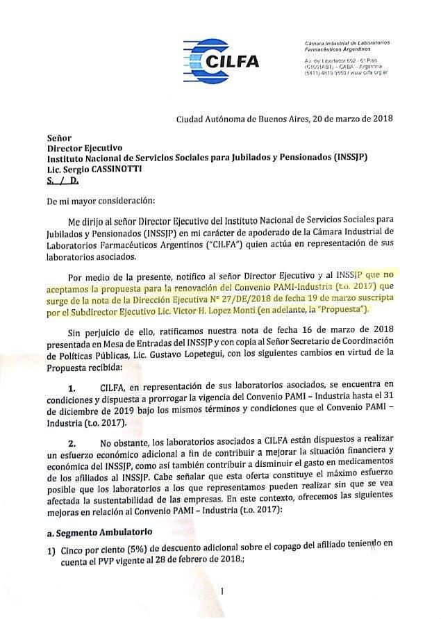 La carta que le enviaron los laboratorios a Sergio Cassinotti, titular del Pami.