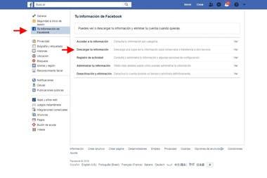El menú Web de Facebook para descargar todos nuestro datos, incluyendo las fotos y videos