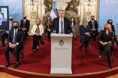 El presidente de la Nación, Alberto Fernández, presentó el proyecto de reforma de la Justicia en el Salón Blanco de la Casa Rosada