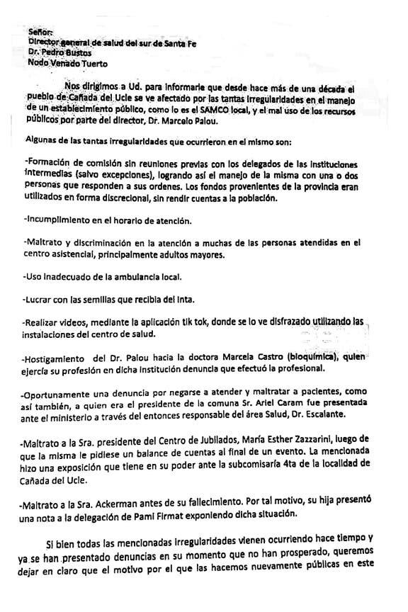 Parte de la carta enviada al Director General de Salud del sur de Santa Fe