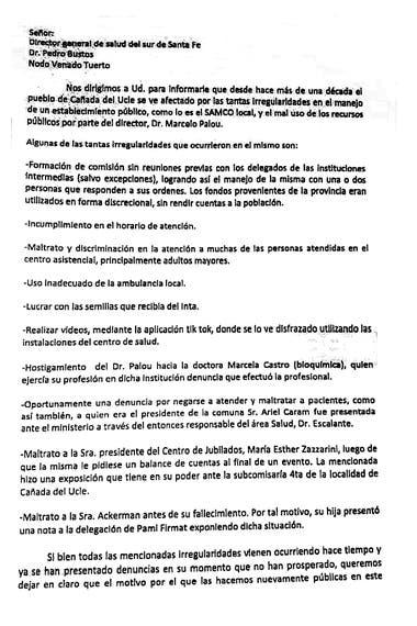 La primera parte de la carta que llevaron los vecinos al delegado comunal que también la firmó