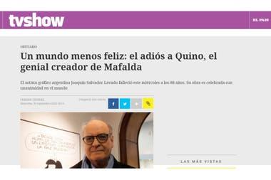 """En El País de Uruguay se refirieron a """"un mundo menos feliz"""" por el fallecimiento de Quino"""