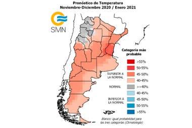 En el análisis se indican las probabilidades previstas para tres categorías: superior, normal e inferior en cada región señalada y para el trimestre pronosticado