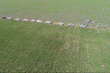 Vista aérea del encuentro organizado por la Regional Aapresid Pergamino-Colón en el establecimiento La Oración