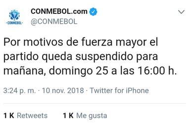 El primer tuit del anuncio de la Conmebol; enseguida, enmendó su error