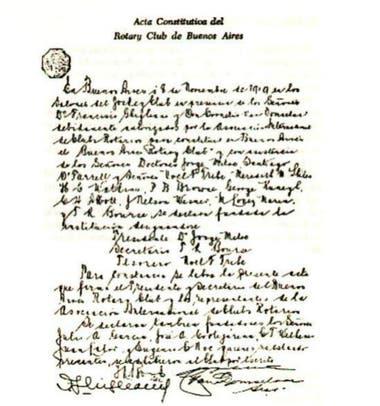 O ato de fundação do Rotary Club de Buenos Aires, com a assinatura de Jorge Mitre