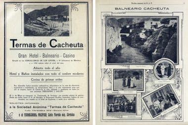Avisos del hotel Termas de Cacheuta publicados en la revista BAP (Buenos Aires al Pacífico) en 1918.
