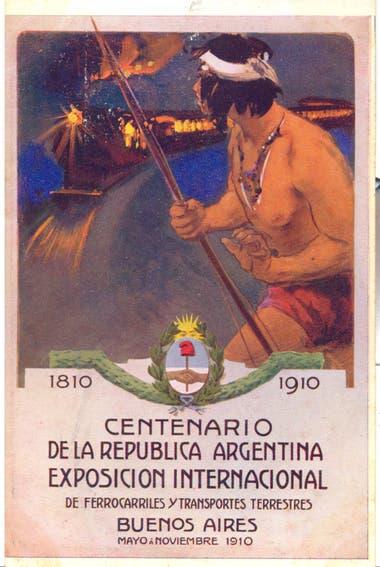 El afiche oficial de la Exposición que daba cuenta del progreso argentino: un indio sorprendido por la humeante formación de un tren.