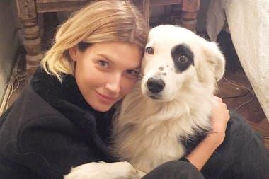 Su hija, la modelo Chloé Bello -que también trabaja contra el maltrato animal-, junto al Border Collie de su ex novio, Gustavo Cerati