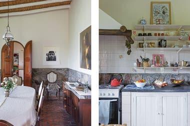 En los estantes de la cocina, obra de Itamar Hartavi (arriba), Virgen de Guadalupe en versión kitsch e individual blanco y azul (Welcometovilla).