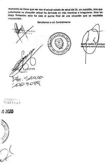 La segunda parte de la carta y algunas de las firmas