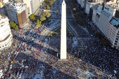 La zona del Obelisco a la hora de inicio de la protesta