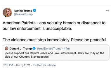 La captura del tuit de Ivanka Trump que luego fue borrado