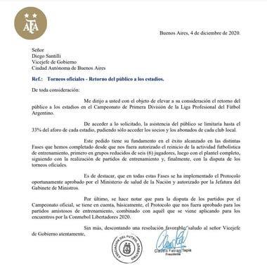 La carta que AFA envió en diciembre al Gobierno de CABA