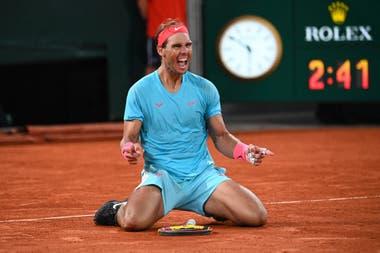 Así festeja Nadal en la central de Roland Garros: otro hito
