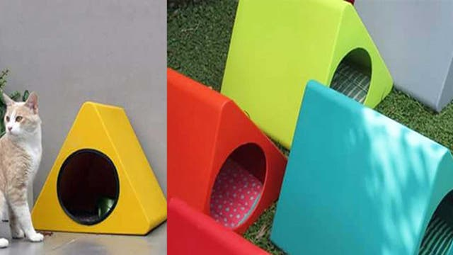Tri Objetos sustentables: en Pergamino, Eduardo Dates y la arquitecta Carla Piccoli realizan cuchas para perros y gatos con plástico reciclado (facebook.com/Tri.Objetos.Sustentables).Nro. de exhibidor: 1 deco