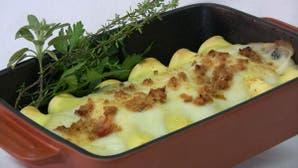Canelones gratinados de soja y verduras