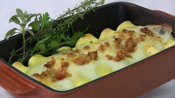 Receta de Canelones gratinados de soja y verduras