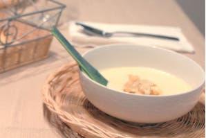 Sopa crema de puerros con naranja