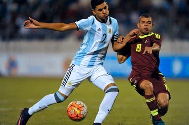 Con el Sub 20 de la Argentina ante Venezuela en el Sudamericano de 2017
