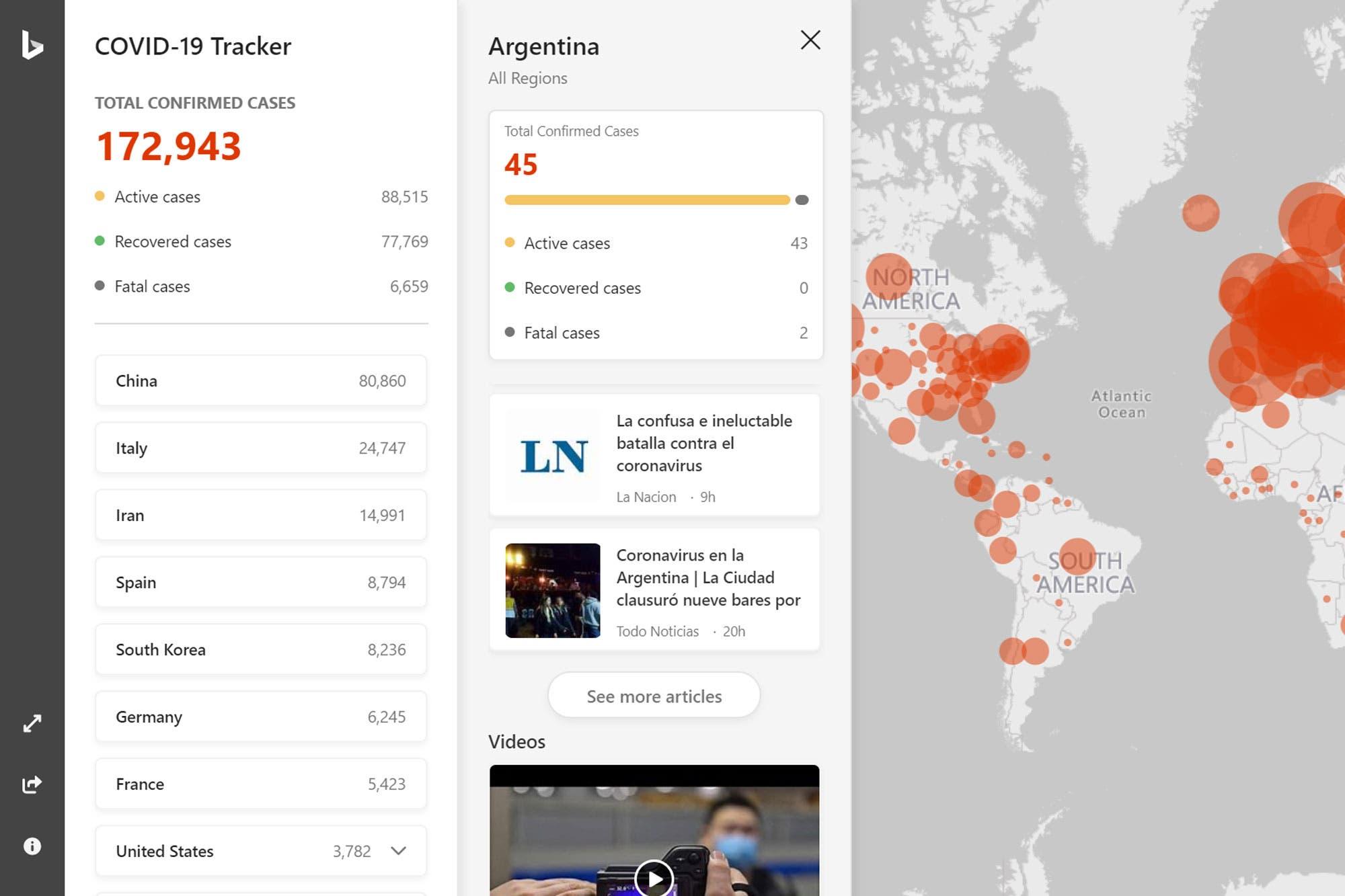 Microsoft presentó un mapa online para seguir en tiempo real la evolución del coronavirus