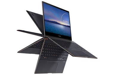 La Asus Zenbook Flip S tiene un pantalla de 13,3 pulgadas y resolución 4K, validada por Pantone y con lápiz para escribir en pantalla, chip Core i7 de 11va gen, hasta 16 GB de RAM, 15 horas de autonomía, 1,2 kg de peso y 13,9 mm de grosor