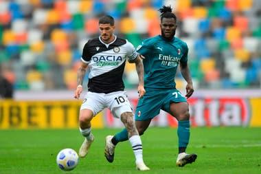 Rodrigo de Paul, dominante en el último Udinese-Milan de la Serie A de Italia.