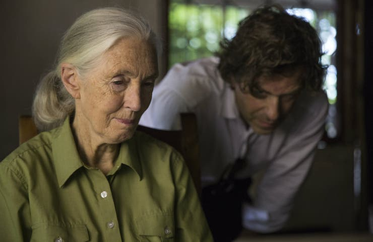 Jane Goodall y Brett Morgen, protagonista y director del documental Jane que se estrena en National Geographic